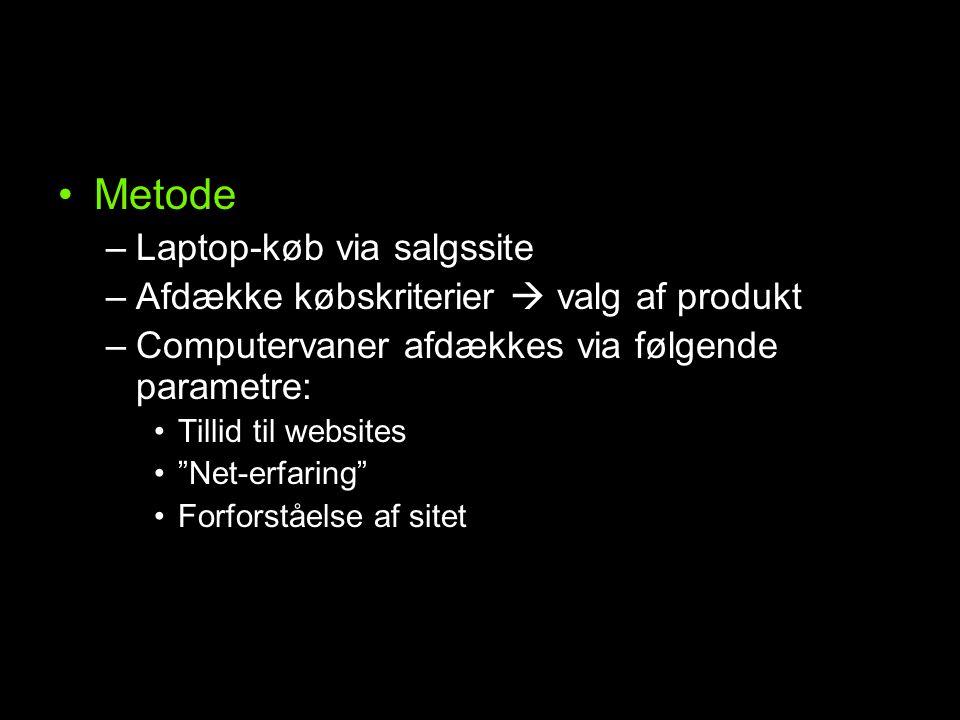 Metode –Laptop-køb via salgssite –Afdække købskriterier  valg af produkt –Computervaner afdækkes via følgende parametre: Tillid til websites Net-erfaring Forforståelse af sitet