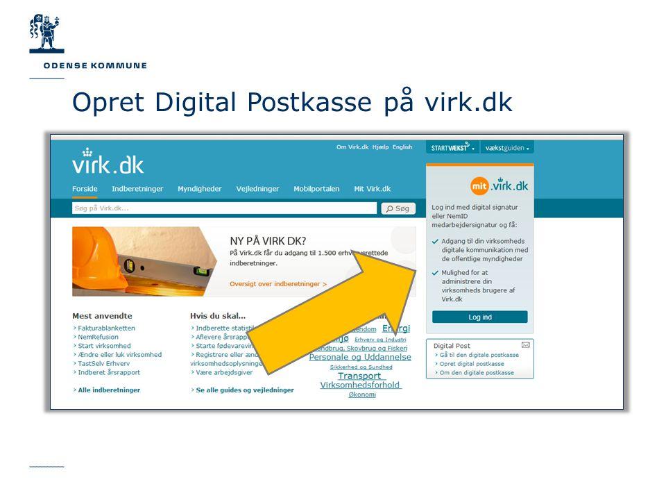 Opret Digital Postkasse på virk.dk