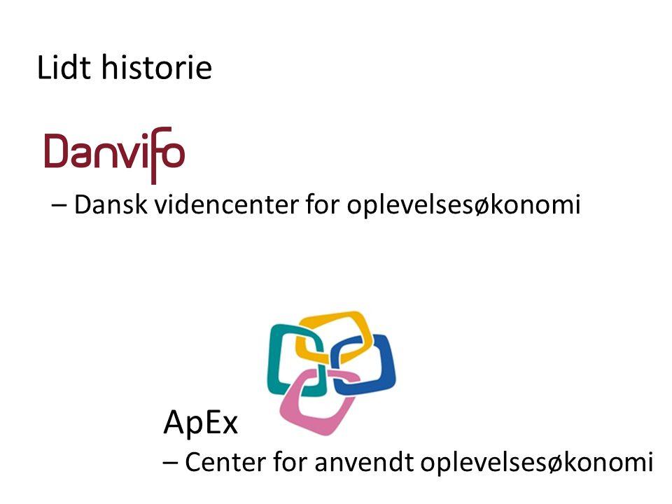 Lidt historie ApEx – Center for anvendt oplevelsesøkonomi – Dansk videncenter for oplevelsesøkonomi