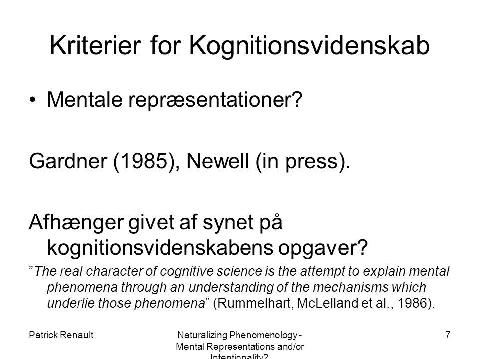 Patrick RenaultNaturalizing Phenomenology - Mental Representations and/or Intentionality.