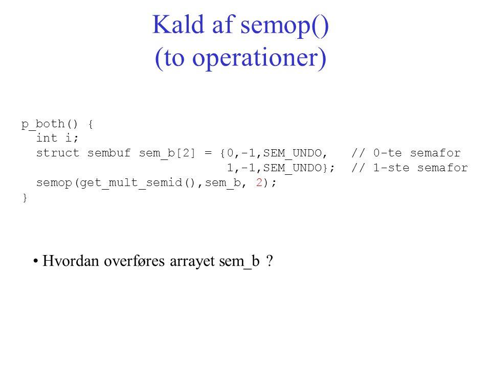 p_both() { int i; struct sembuf sem_b[2] = {0,-1,SEM_UNDO, // 0-te semafor 1,-1,SEM_UNDO}; // 1-ste semafor semop(get_mult_semid(),sem_b, 2); } Kald af semop() (to operationer) Hvordan overføres arrayet sem_b