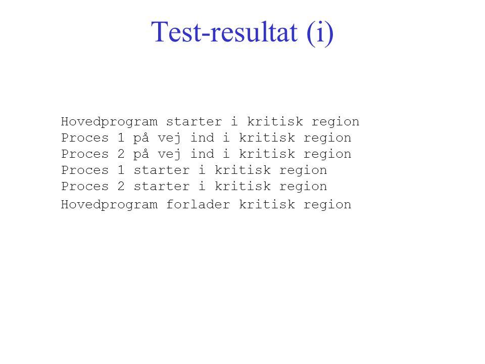 Test-resultat (i) Hovedprogram starter i kritisk region Proces 1 på vej ind i kritisk region Proces 2 på vej ind i kritisk region Proces 1 starter i kritisk region Proces 2 starter i kritisk region Hovedprogram forlader kritisk region