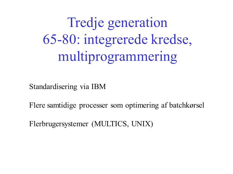 Tredje generation 65-80: integrerede kredse, multiprogrammering Standardisering via IBM Flere samtidige processer som optimering af batchkørsel Flerbrugersystemer (MULTICS, UNIX)