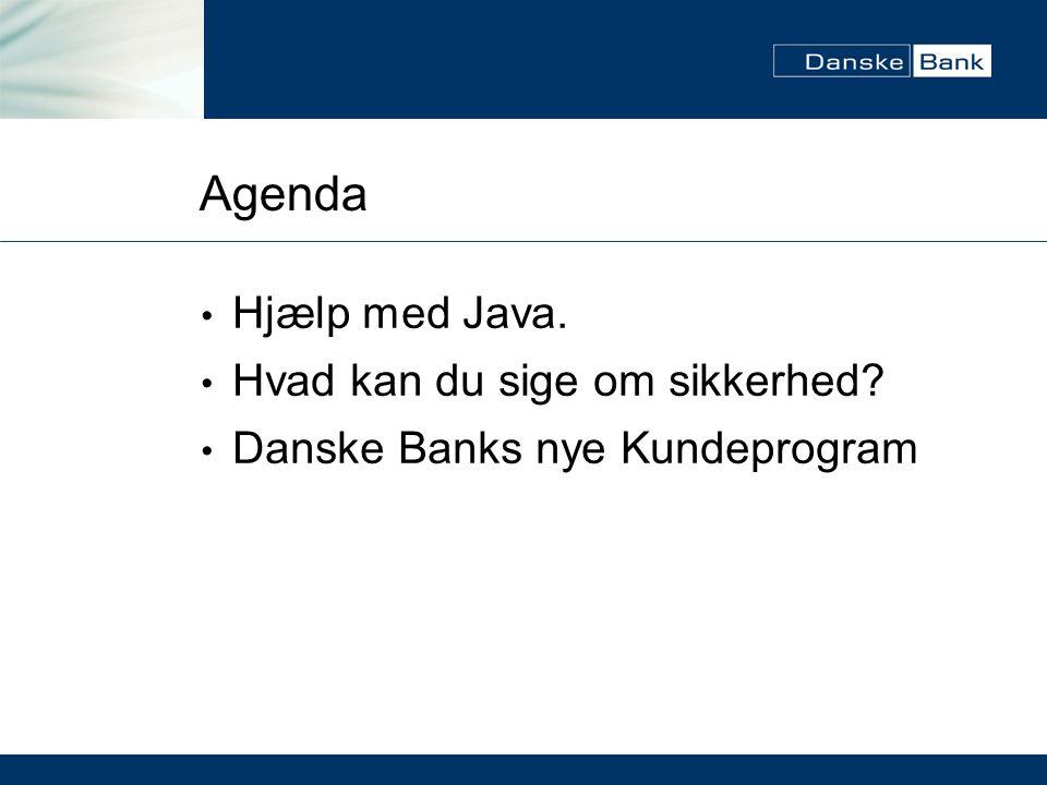 Agenda Hjælp med Java. Hvad kan du sige om sikkerhed Danske Banks nye Kundeprogram