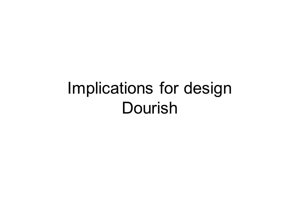 Implications for design Dourish