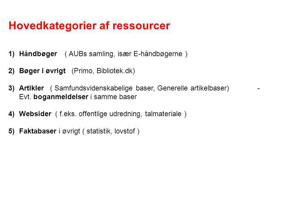 Hovedkategorier af ressourcer 1)Håndbøger ( AUBs samling, især E-håndbøgerne ) 2)Bøger i øvrigt (Primo, Bibliotek.dk) 3)Artikler ( Samfundsvidenskabelige baser, Generelle artikelbaser) - Evt.