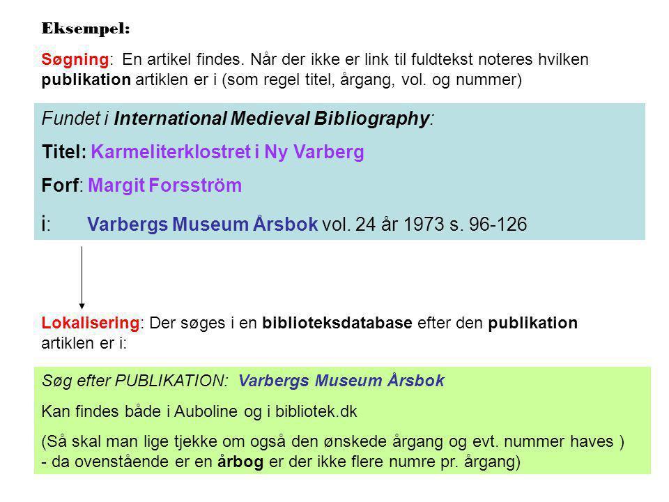 Fundet i International Medieval Bibliography: Titel: Karmeliterklostret i Ny Varberg Forf: Margit Forsström i : Varbergs Museum Årsbok vol.