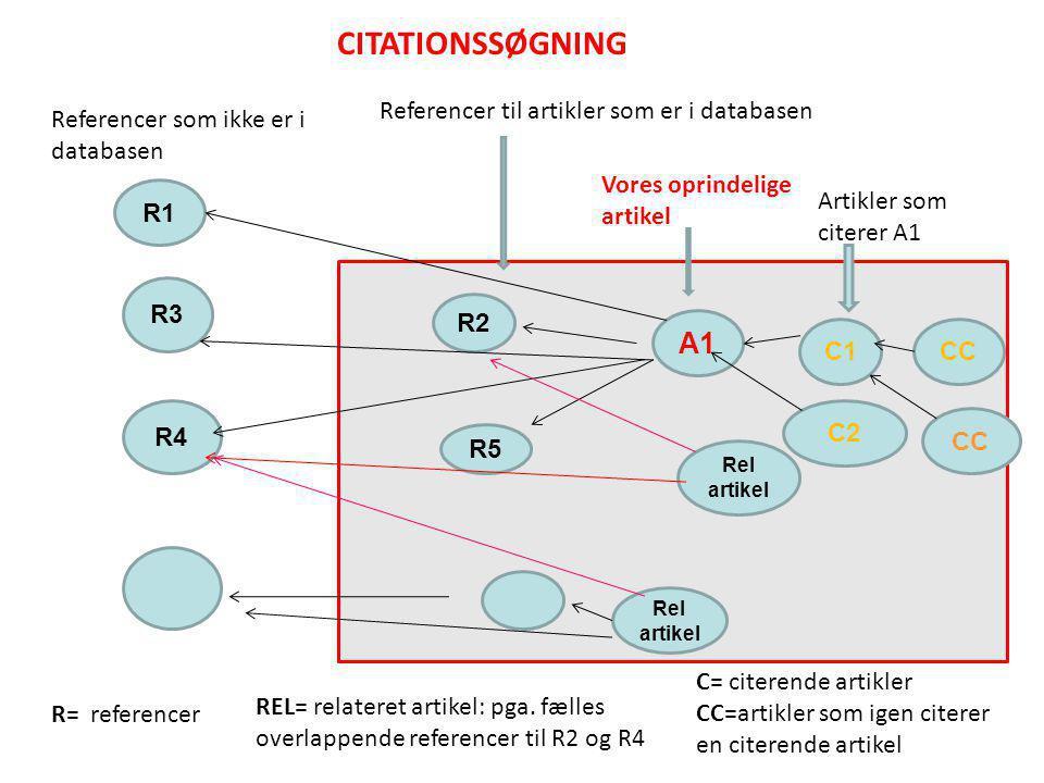 R2 R5 A1 C1CC R3 R4 R1 Referencer som ikke er i databasen Vores oprindelige artikel Referencer til artikler som er i databasen Rel artikel C2 R= referencer C= citerende artikler CC=artikler som igen citerer en citerende artikel REL= relateret artikel: pga.