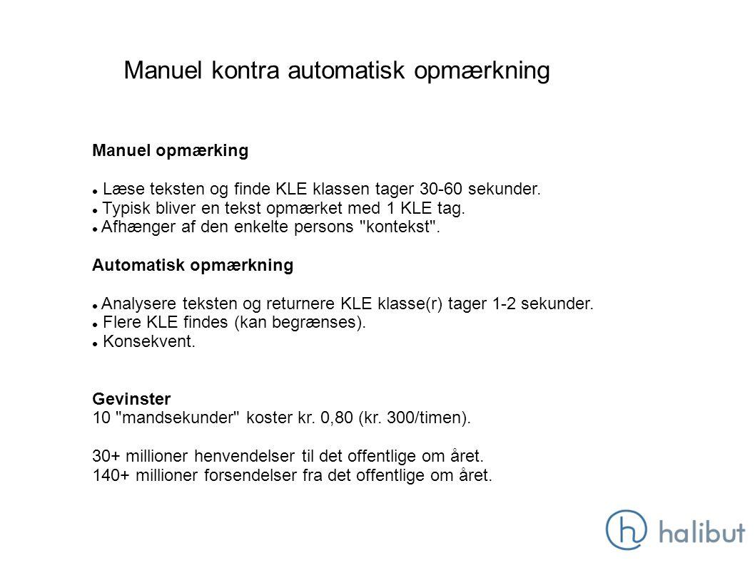 Manuel kontra automatisk opmærkning Manuel opmærking Læse teksten og finde KLE klassen tager 30-60 sekunder.
