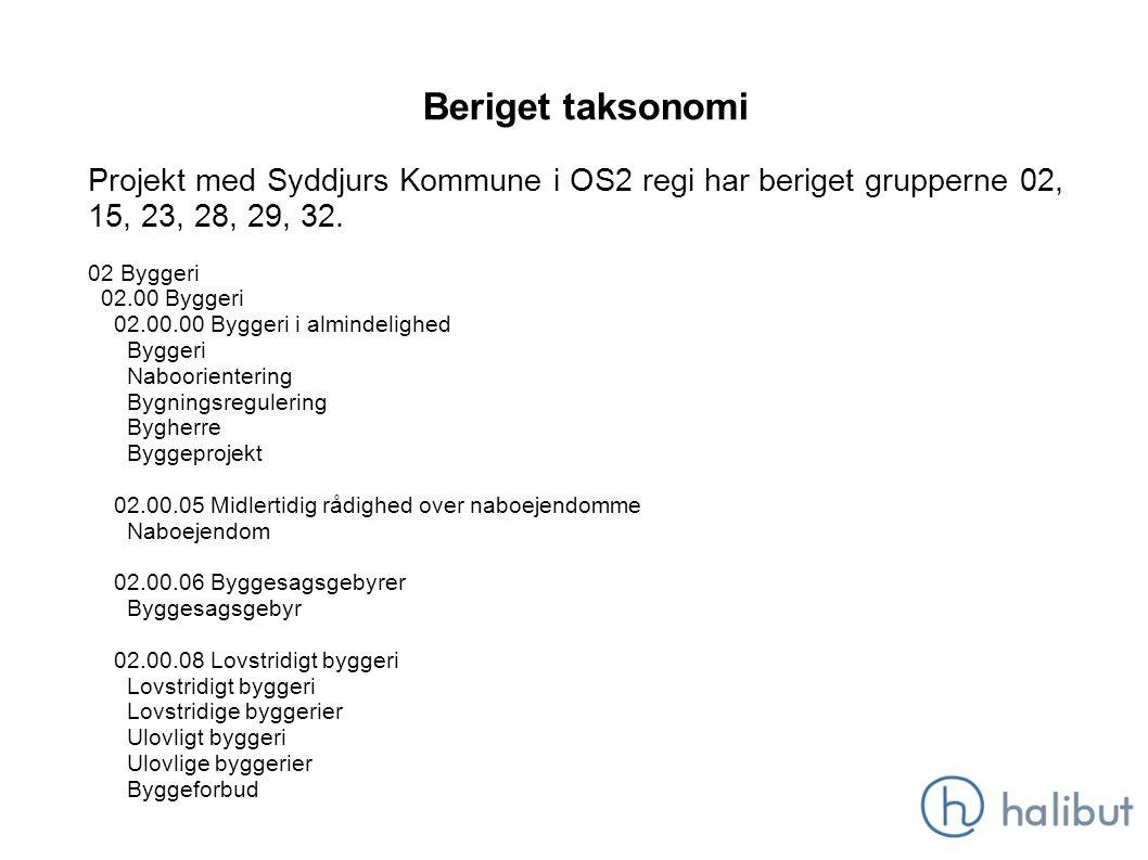 Beriget taksonomi Projekt med Syddjurs Kommune i OS2 regi har beriget grupperne 02, 15, 23, 28, 29, 32.