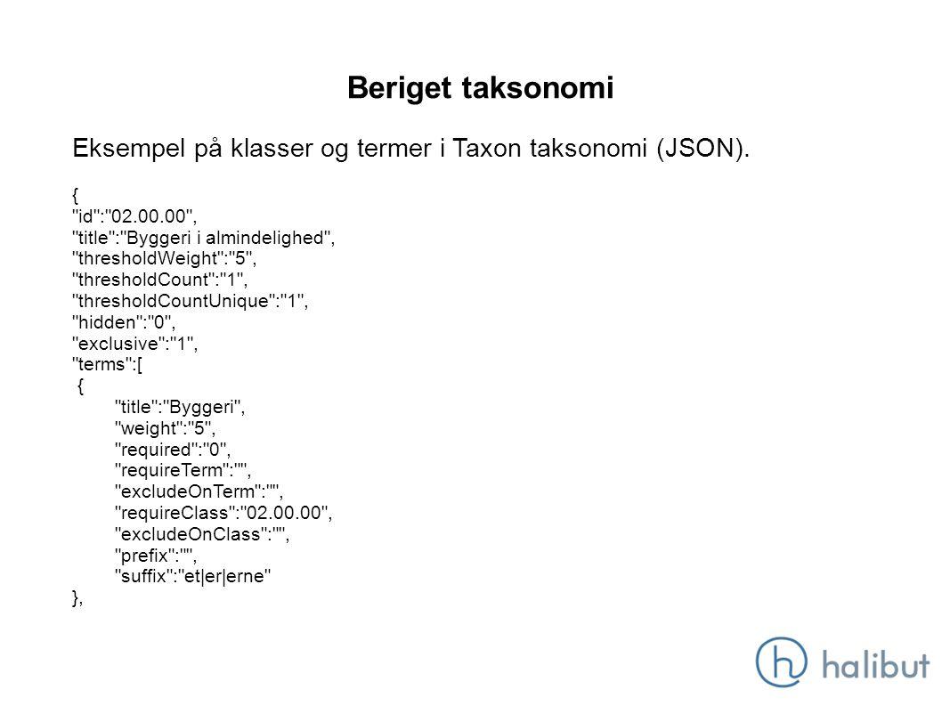 Beriget taksonomi Eksempel på klasser og termer i Taxon taksonomi (JSON).