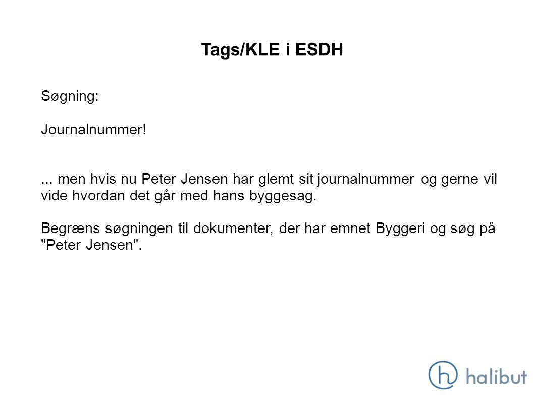 Tags/KLE i ESDH Søgning: Journalnummer!...