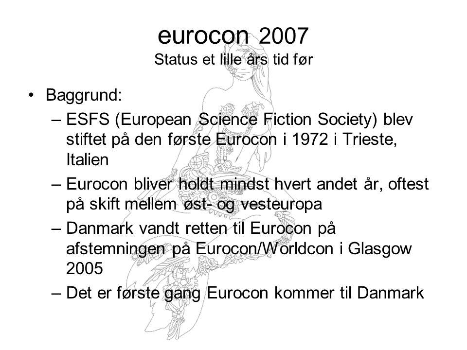 eurocon 2007 Status et lille års tid før Baggrund: –ESFS (European Science Fiction Society) blev stiftet på den første Eurocon i 1972 i Trieste, Italien –Eurocon bliver holdt mindst hvert andet år, oftest på skift mellem øst- og vesteuropa –Danmark vandt retten til Eurocon på afstemningen på Eurocon/Worldcon i Glasgow 2005 –Det er første gang Eurocon kommer til Danmark