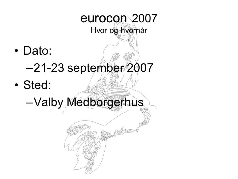 eurocon 2007 Hvor og hvornår Dato: –21-23 september 2007 Sted: –Valby Medborgerhus