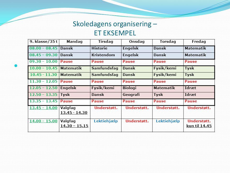 Skoledagens organisering – ET EKSEMPEL 9.