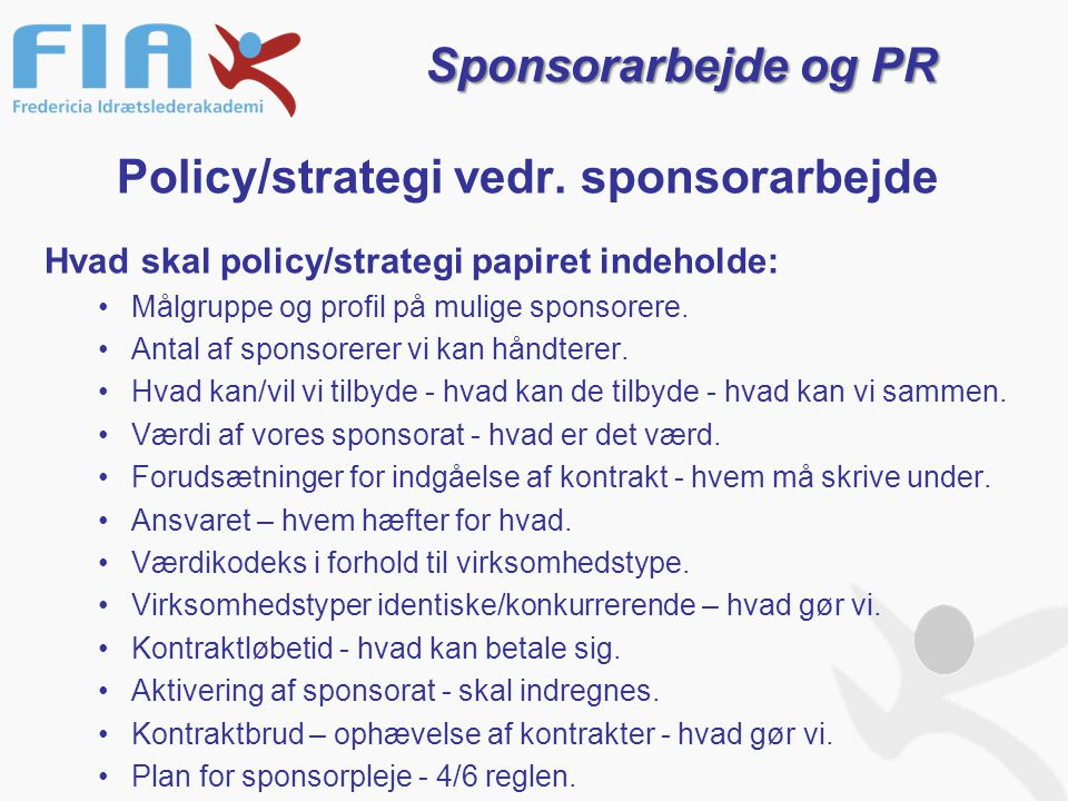 Policy/strategi vedr.