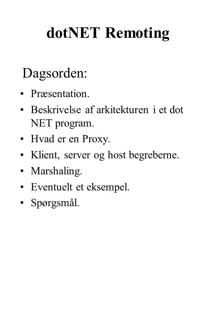 dotNET Remoting Præsentation. Beskrivelse af arkitekturen i et dot NET program.