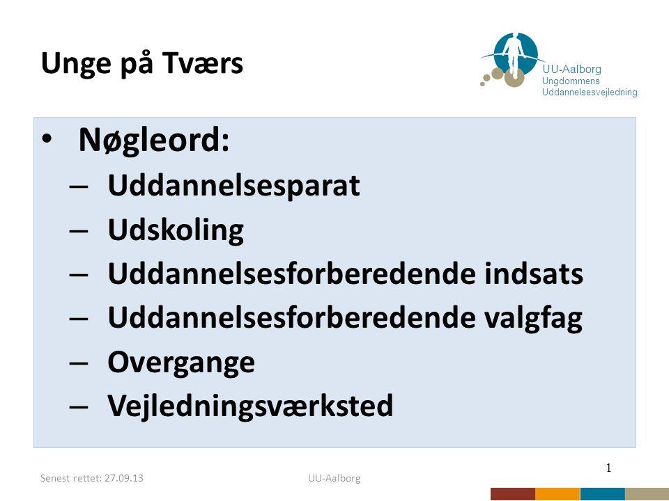 Senest rettet: 27.09.13UU-Aalborg Unge på Tværs Nøgleord: – Uddannelsesparat – Udskoling – Uddannelsesforberedende indsats – Uddannelsesforberedende valgfag – Overgange – Vejledningsværksted 1 UU-Aalborg Ungdommens Uddannelsesvejledning