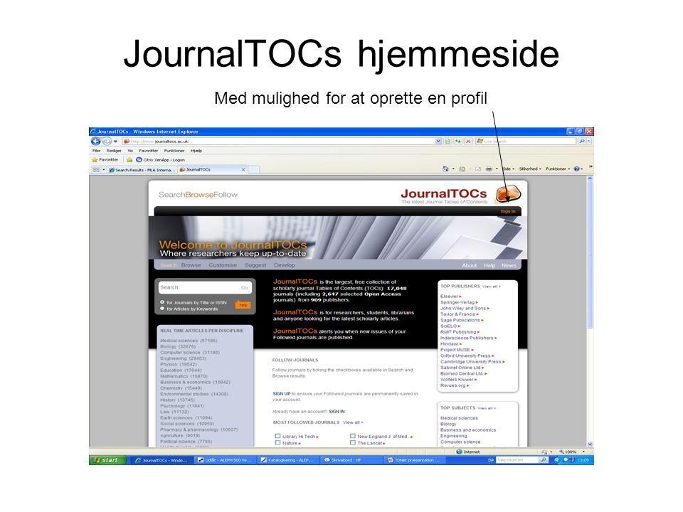 JournalTOCs hjemmeside Med mulighed for at oprette en profil
