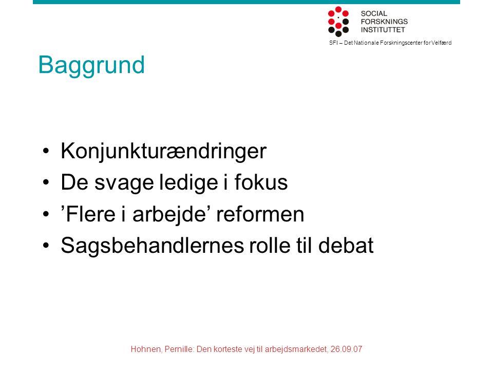 SFI – Det Nationale Forskningscenter for Velfærd Hohnen, Pernille: Den korteste vej til arbejdsmarkedet, 26.09.07 Baggrund Konjunkturændringer De svage ledige i fokus 'Flere i arbejde' reformen Sagsbehandlernes rolle til debat