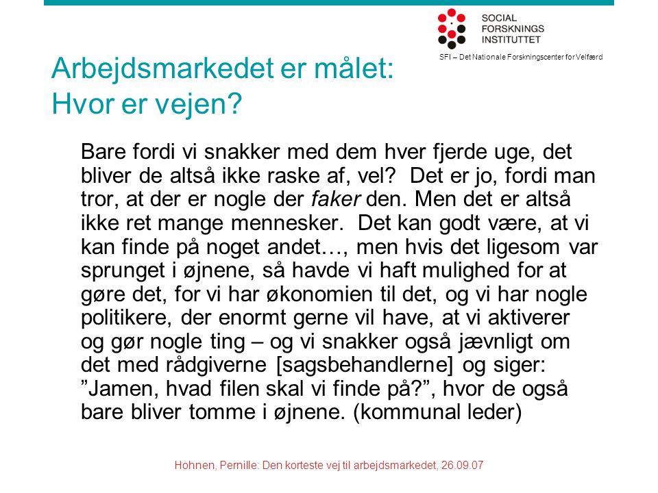SFI – Det Nationale Forskningscenter for Velfærd Hohnen, Pernille: Den korteste vej til arbejdsmarkedet, 26.09.07 Arbejdsmarkedet er målet: Hvor er vejen.