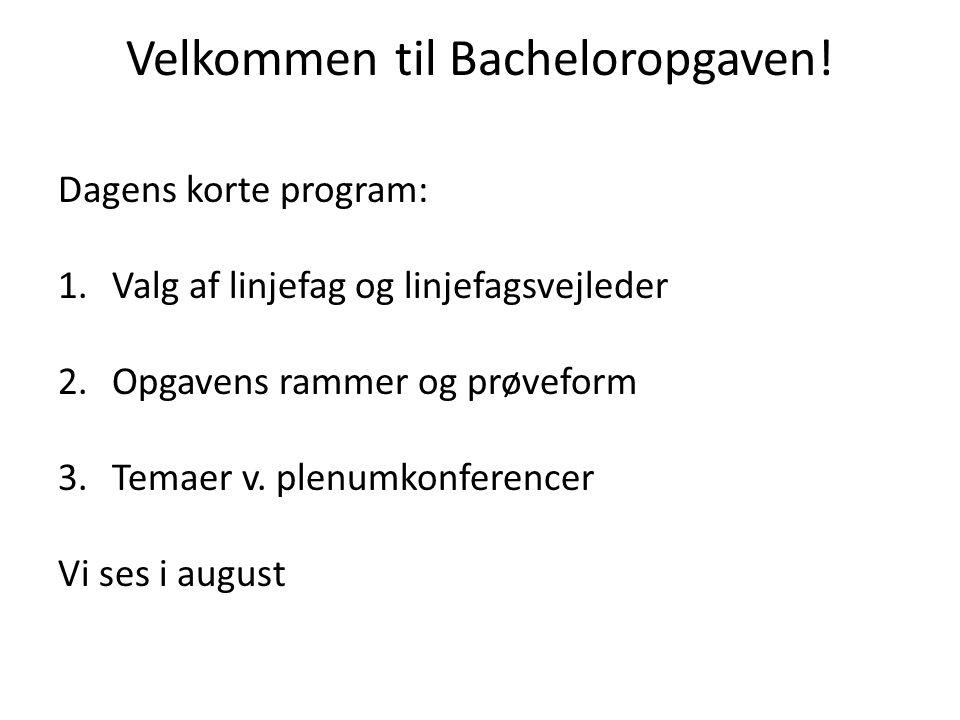 Velkommen til Bacheloropgaven.