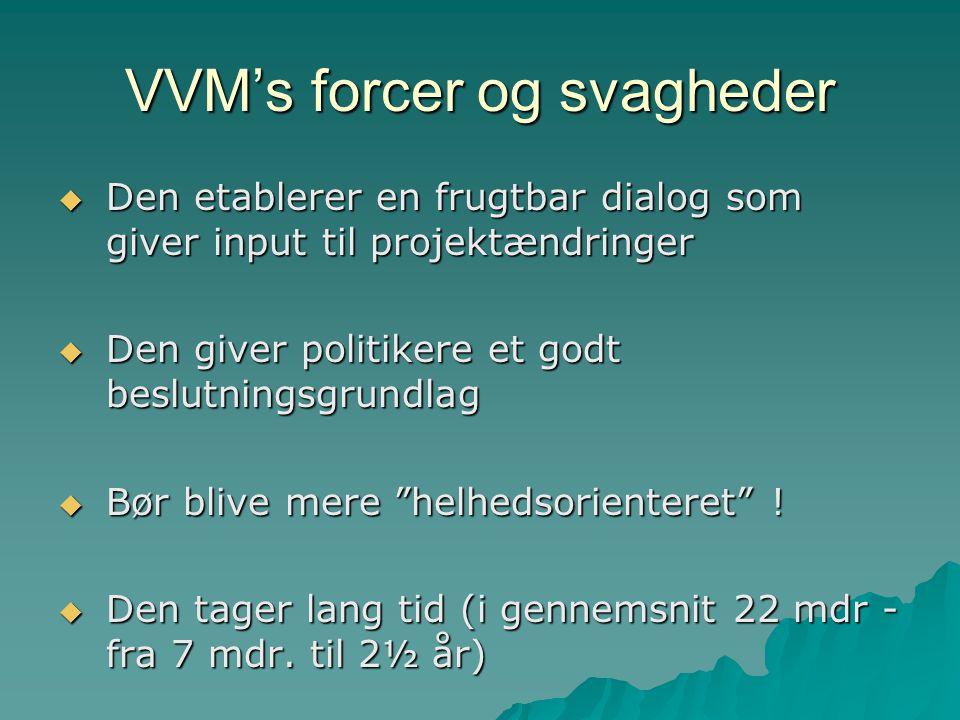 VVM's forcer og svagheder  Den etablerer en frugtbar dialog som giver input til projektændringer  Den giver politikere et godt beslutningsgrundlag  Bør blive mere helhedsorienteret .
