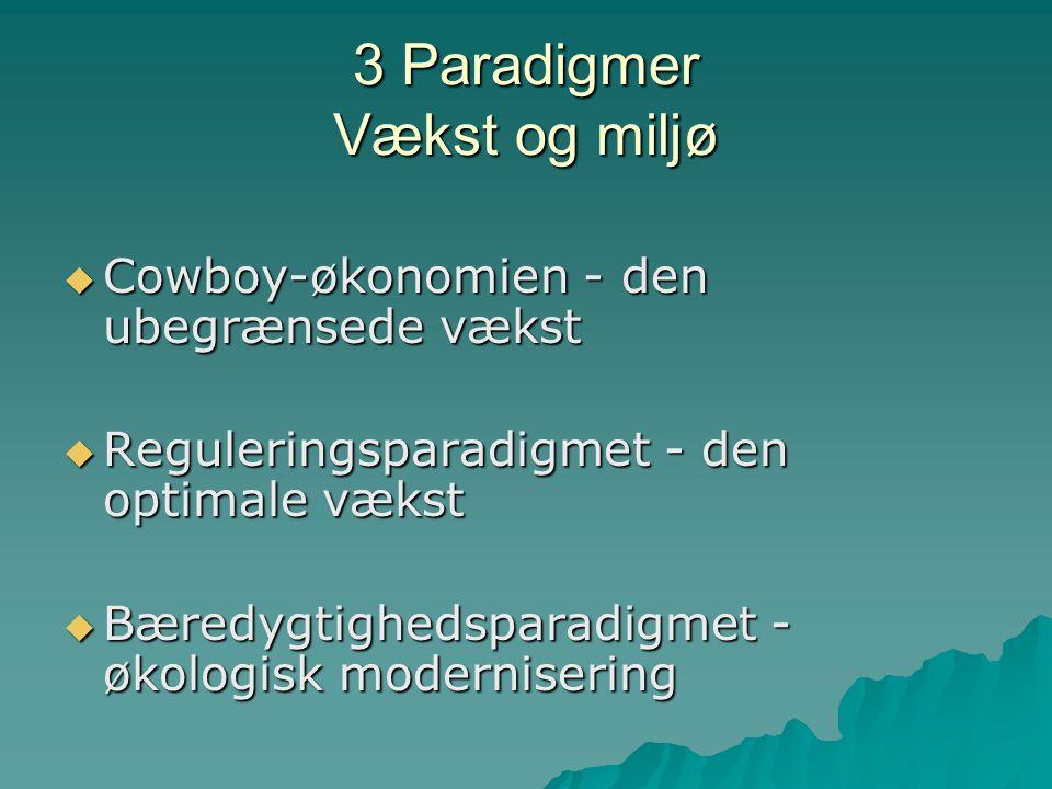 3 Paradigmer Vækst og miljø  Cowboy-økonomien - den ubegrænsede vækst  Reguleringsparadigmet - den optimale vækst  Bæredygtighedsparadigmet - økologisk modernisering