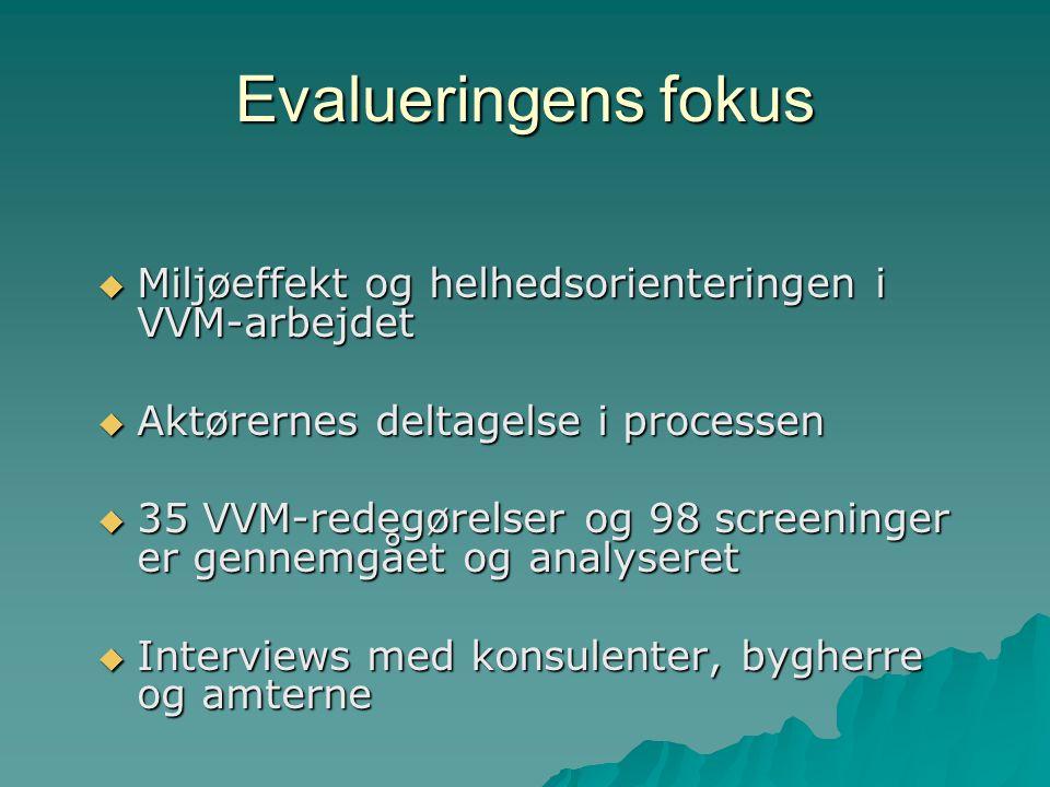 Evalueringens fokus  Miljøeffekt og helhedsorienteringen i VVM-arbejdet  Aktørernes deltagelse i processen  35 VVM-redegørelser og 98 screeninger er gennemgået og analyseret  Interviews med konsulenter, bygherre og amterne