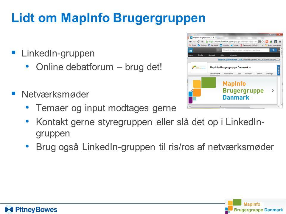 5 Lidt om MapInfo Brugergruppen  LinkedIn-gruppen Online debatforum – brug det.