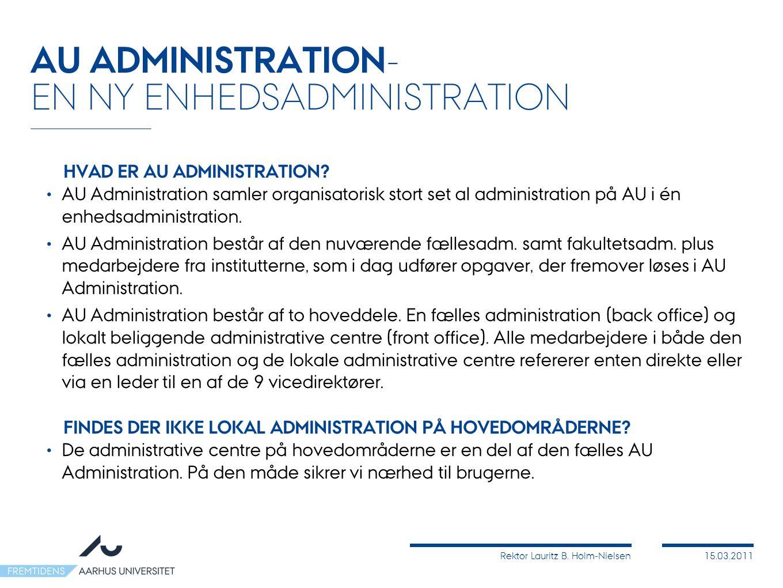 Rektor Lauritz B. Holm-Nielsen15.03.2011 HVAD ER AU ADMINISTRATION.