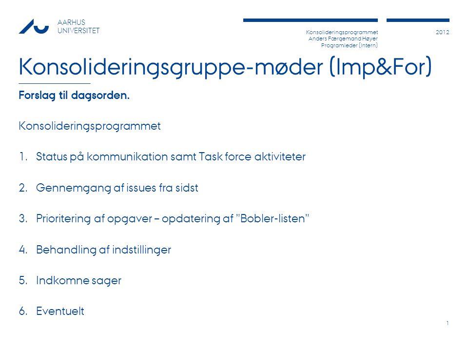 Konsolideringsprogrammet Anders Færgemand Høyer Programleder (Intern) 2012 AARHUS UNIVERSITET Konsolideringsgruppe-møder (Imp&For) Forslag til dagsorden.