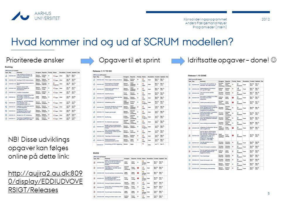 Konsolideringsprogrammet Anders Færgemand Høyer Programleder (Intern) 2012 AARHUS UNIVERSITET Hvad kommer ind og ud af SCRUM modellen.