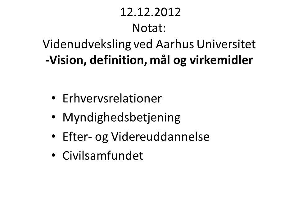 12.12.2012 Notat: Videnudveksling ved Aarhus Universitet -Vision, definition, mål og virkemidler Erhvervsrelationer Myndighedsbetjening Efter- og Videreuddannelse Civilsamfundet