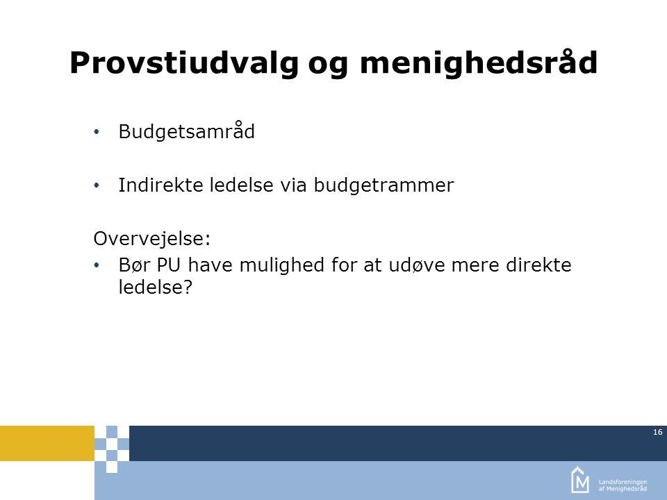 16 Provstiudvalg og menighedsråd Budgetsamråd Indirekte ledelse via budgetrammer Overvejelse: Bør PU have mulighed for at udøve mere direkte ledelse