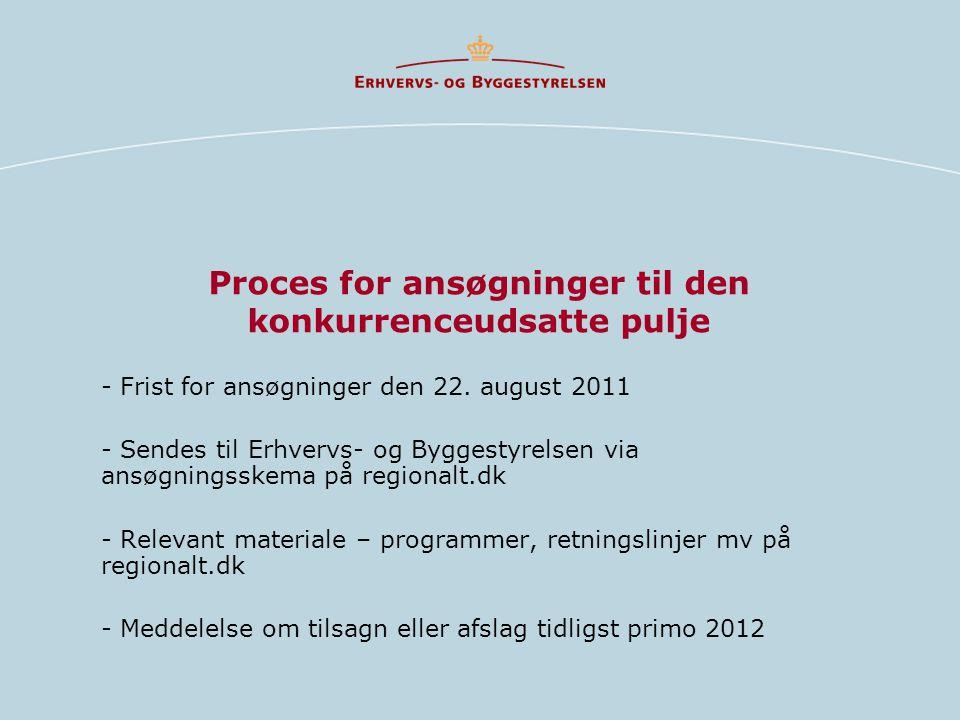 Proces for ansøgninger til den konkurrenceudsatte pulje - Frist for ansøgninger den 22.