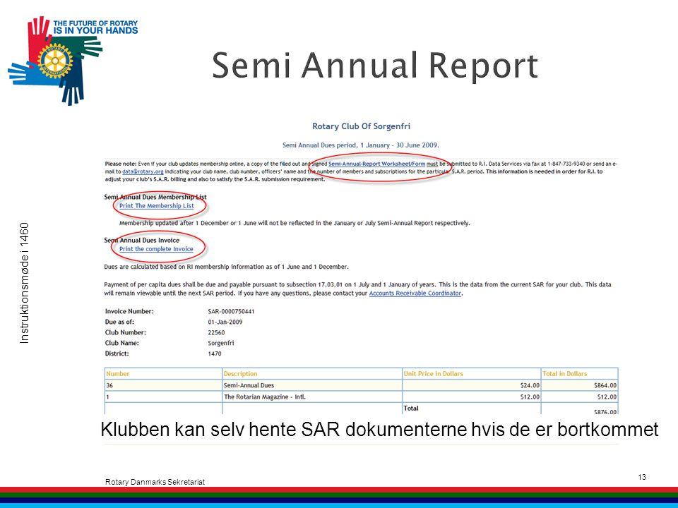 Instruktionsmøde i 1460 Rotary Danmarks Sekretariat 13 Klubben kan selv hente SAR dokumenterne hvis de er bortkommet
