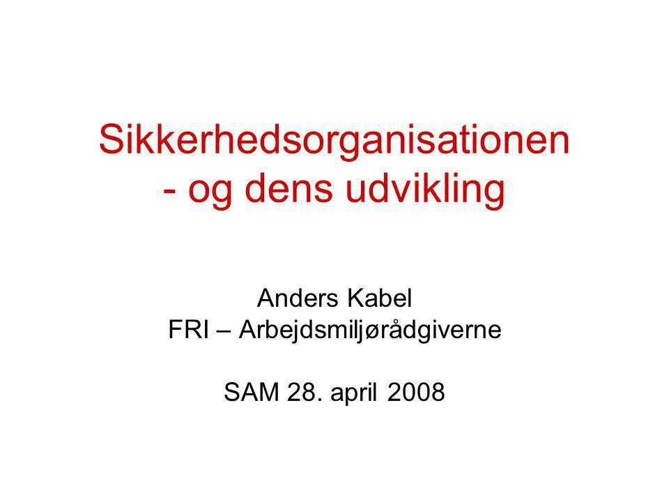 Sikkerhedsorganisationen - og dens udvikling Anders Kabel FRI – Arbejdsmiljørådgiverne SAM 28.