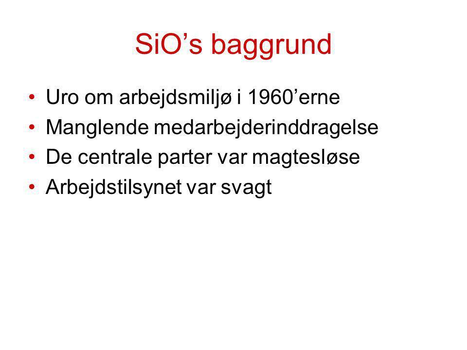 SiO's baggrund Uro om arbejdsmiljø i 1960'erne Manglende medarbejderinddragelse De centrale parter var magtesløse Arbejdstilsynet var svagt
