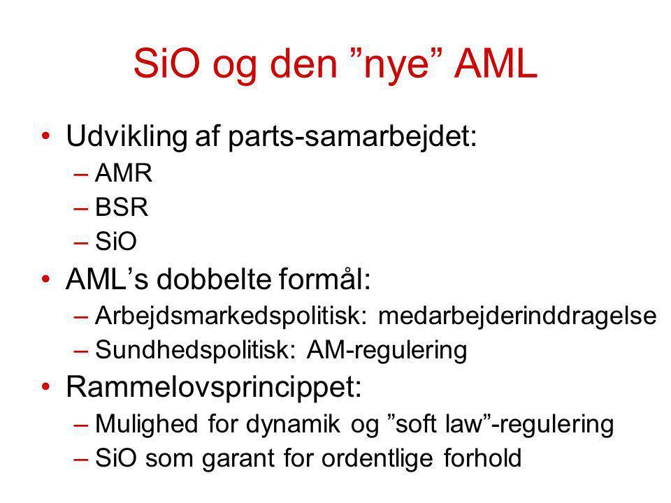 SiO og den nye AML Udvikling af parts-samarbejdet: –AMR –BSR –SiO AML's dobbelte formål: –Arbejdsmarkedspolitisk: medarbejderinddragelse –Sundhedspolitisk: AM-regulering Rammelovsprincippet: –Mulighed for dynamik og soft law -regulering –SiO som garant for ordentlige forhold