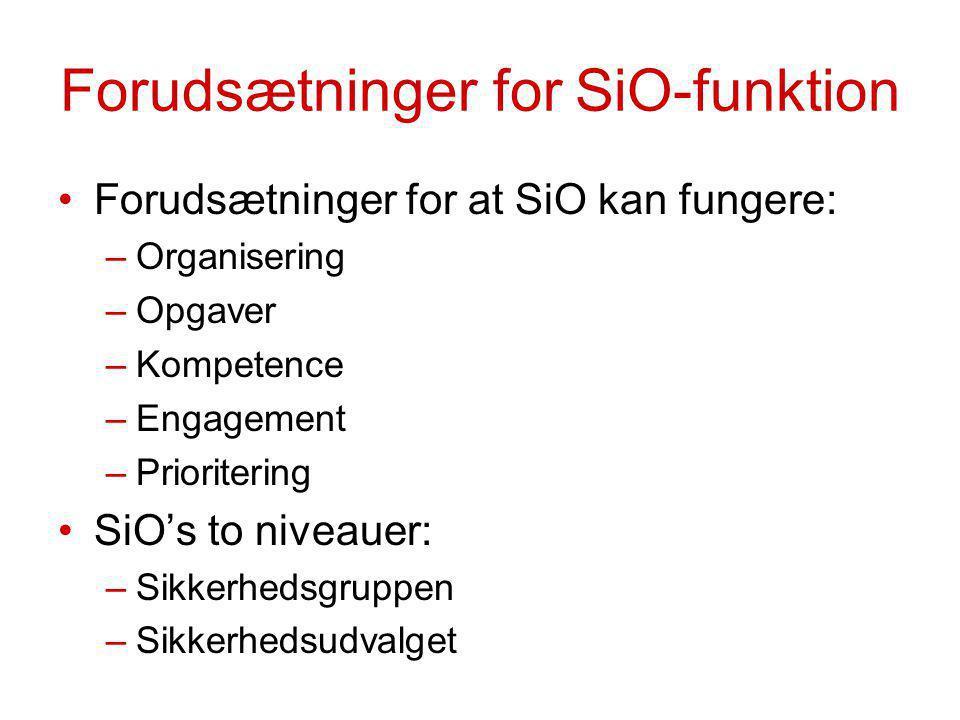 Forudsætninger for SiO-funktion Forudsætninger for at SiO kan fungere: –Organisering –Opgaver –Kompetence –Engagement –Prioritering SiO's to niveauer: –Sikkerhedsgruppen –Sikkerhedsudvalget