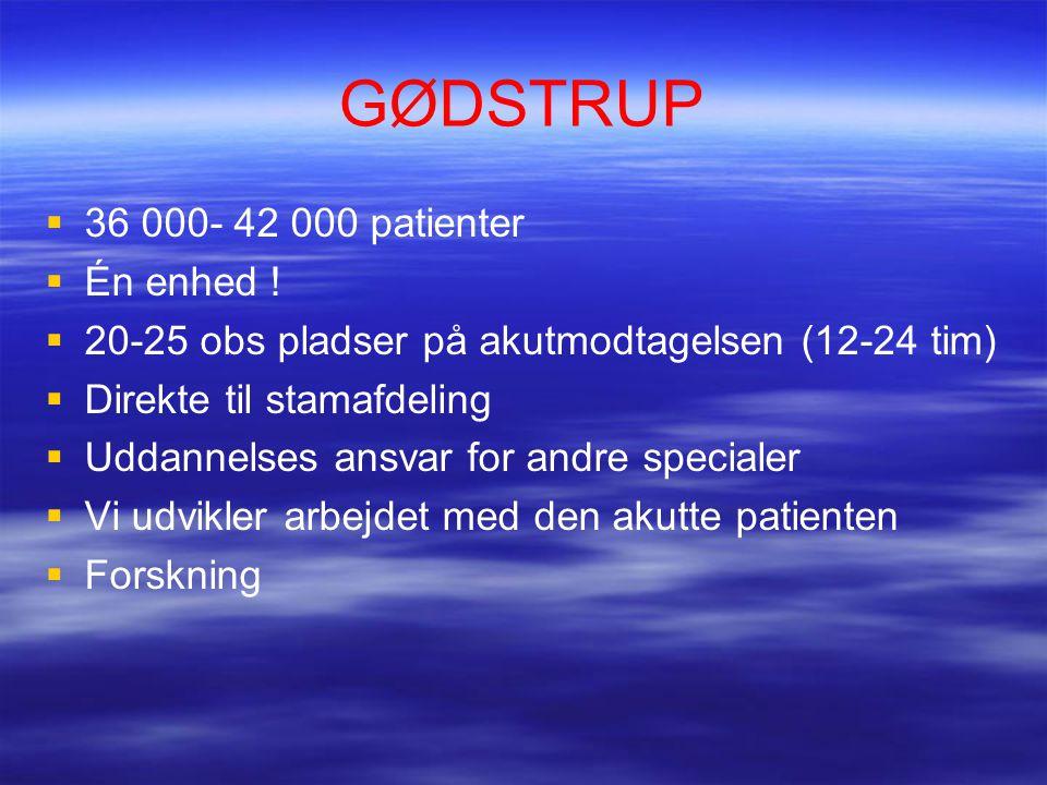 GØDSTRUP  36 000- 42 000 patienter  Én enhed .