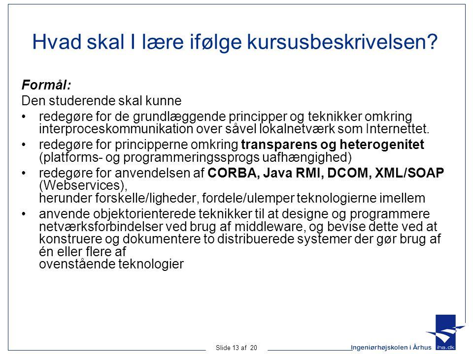 Ingeniørhøjskolen i Århus Slide 13 af 20 Hvad skal I lære ifølge kursusbeskrivelsen.