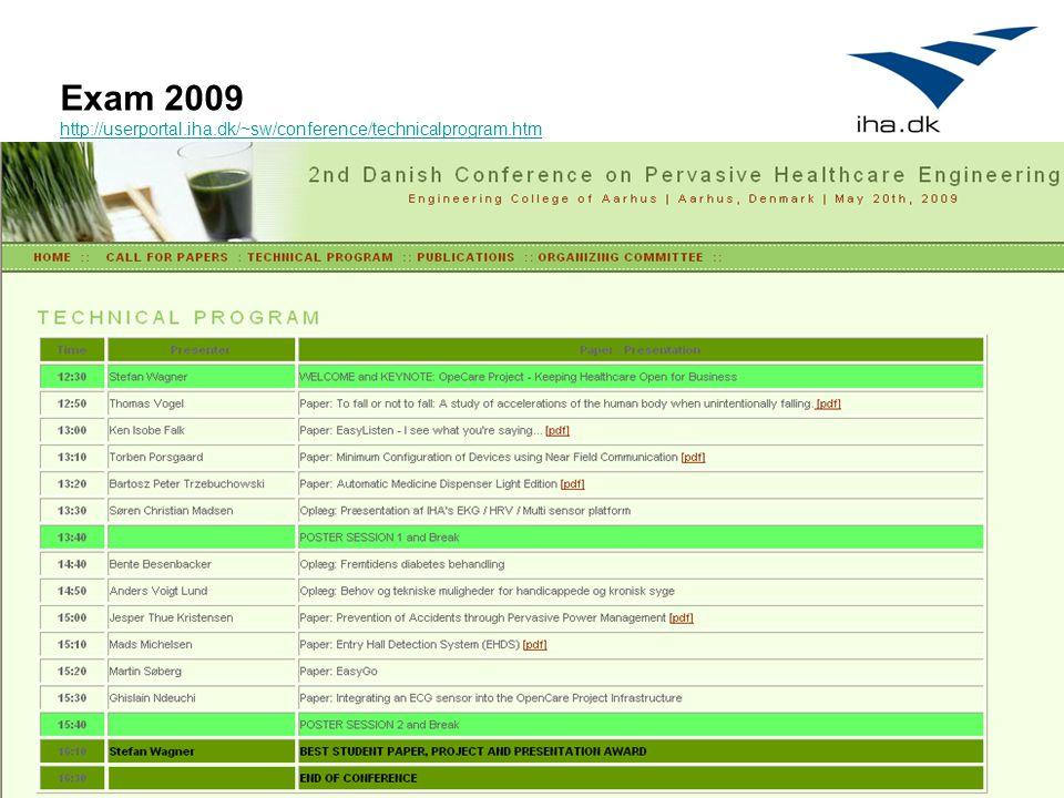 9 Exam 2009 http://userportal.iha.dk/~sw/conference/technicalprogram.htm http://userportal.iha.dk/~sw/conference/technicalprogram.htm