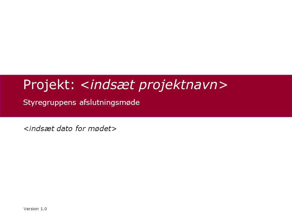 Projekt: Styregruppens afslutningsmøde Version 1.0