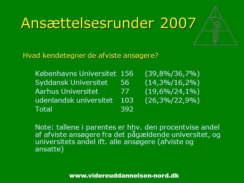 www.videreuddannelsen-nord.dk Ansættelsesrunder 2007 Hvad kendetegner de afviste ansøgere.