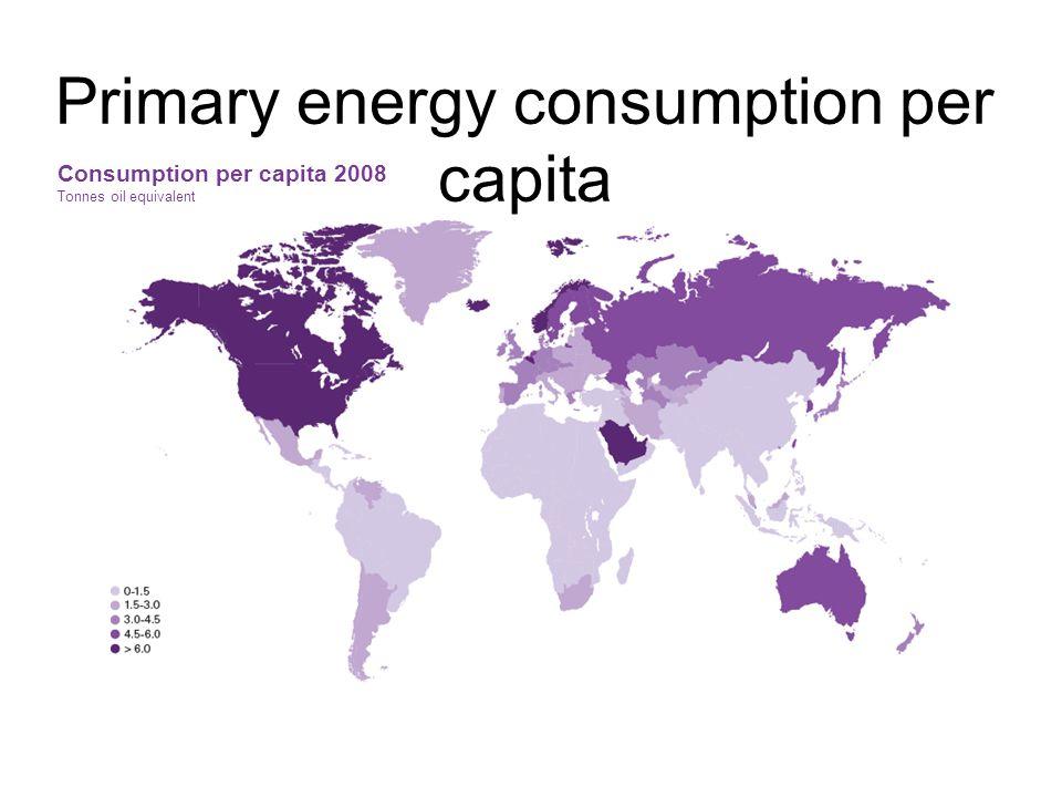 Primary energy consumption per capita Consumption per capita 2008 Tonnes oil equivalent