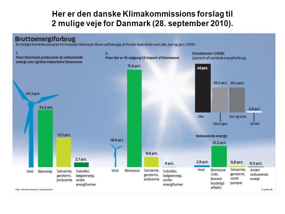 Her er den danske Klimakommissions forslag til 2 mulige veje for Danmark (28. september 2010).
