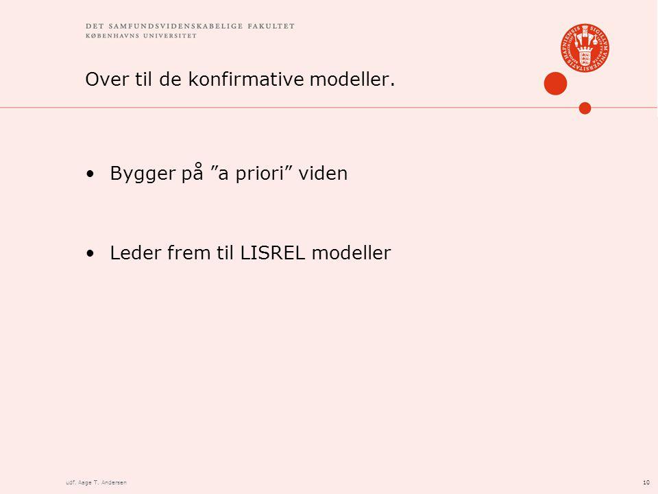 10udf. Aage T. Andersen Over til de konfirmative modeller.
