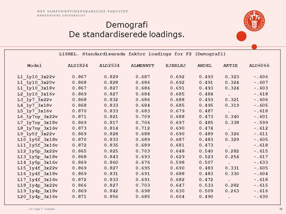 35udf. Aage T. Andersen Demografi De standardiserede loadings.
